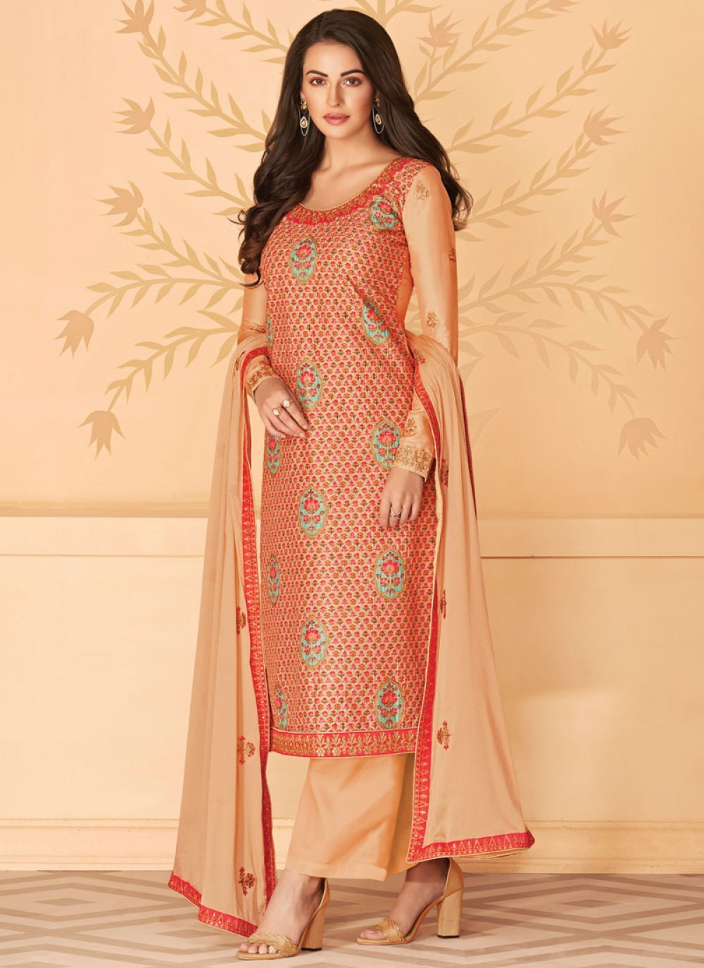 Cream and Red Tussar Silk Designer Salwar Kameez