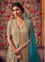 Cream and Turquoise Net Trendy Anarkali Salwar Kameez