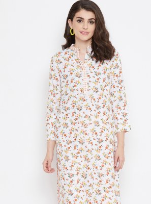 Cream and White Cotton Printed Casual Kurti