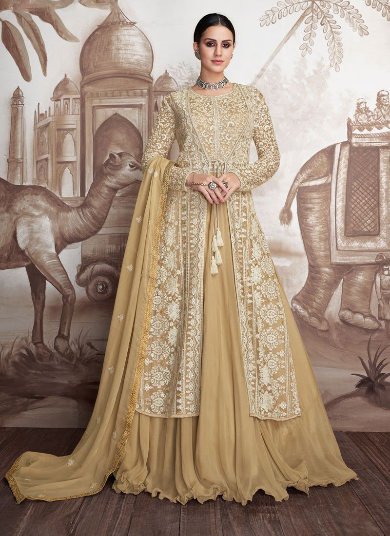 Cream and Yellow Faux Georgette Floor Length Anarkali Suit