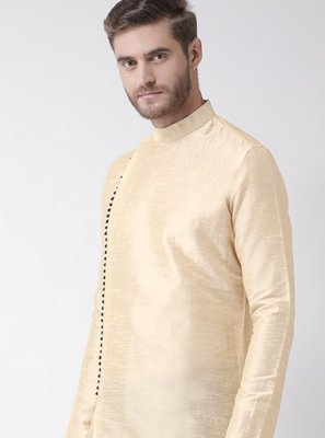 Cream Art Dupion Silk Plain Kurta