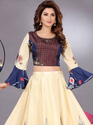 Cream Art Silk Festival Trendy Lehenga Choli