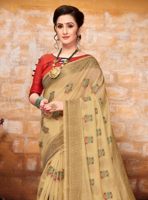 Cream Art Silk Party Traditional Saree