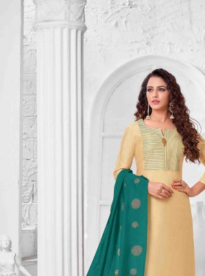 Cream Art Silk Salwar Kameez