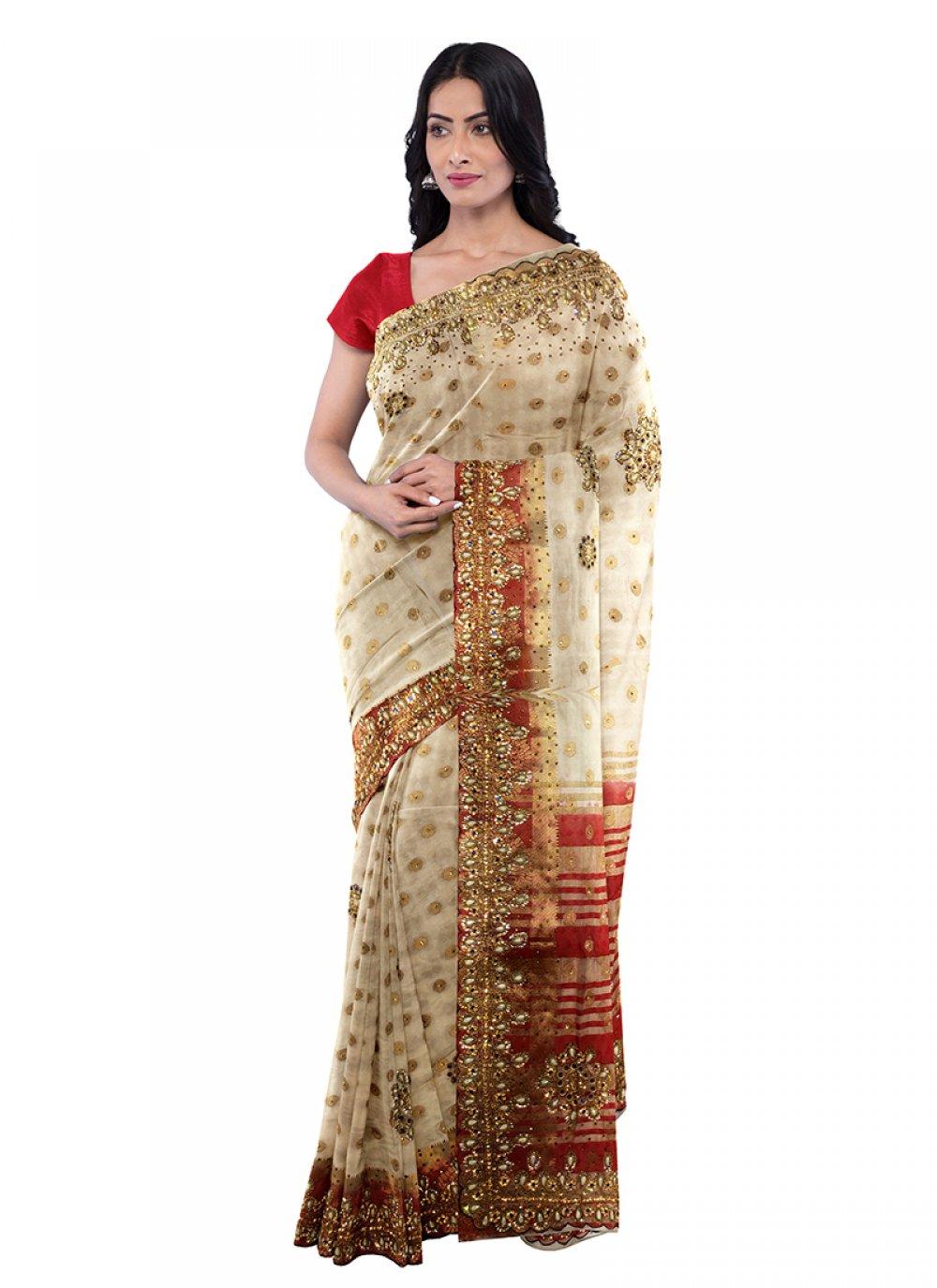 Cream Art Silk Sangeet Saree