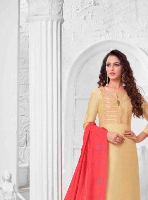 Cream Art Silk Thread Salwar Kameez