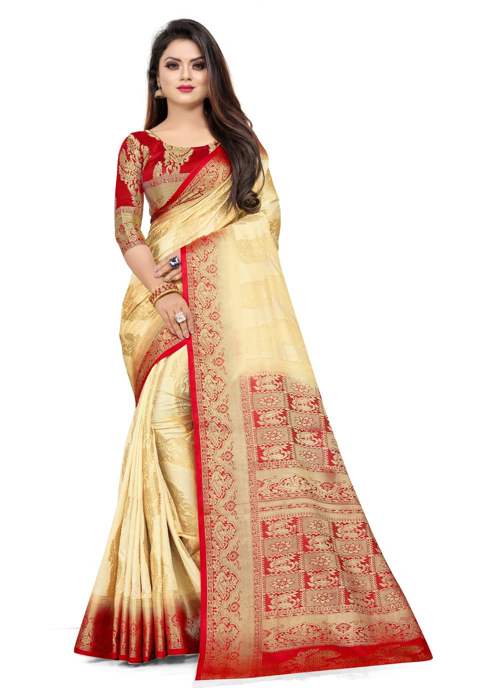 Cream Art Silk Weaving Trendy Saree