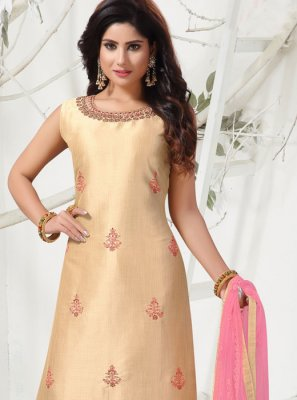 Cream Banarasi Silk Churidar Salwar Suit