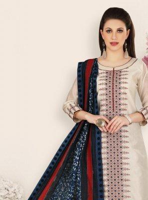 Cream Banarasi Silk Festival Designer Straight Salwar Kameez
