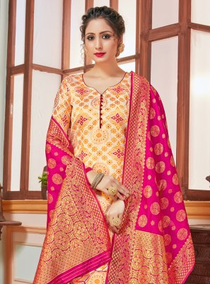 Cream Banarasi Silk Salwar Suit