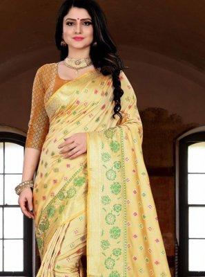 Cream Banarasi Silk Weaving Silk Saree