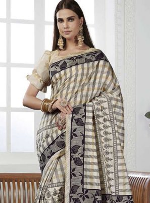 Cream Casual Art Silk Contemporary Saree