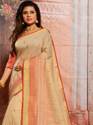 Cream Casual Casual Saree