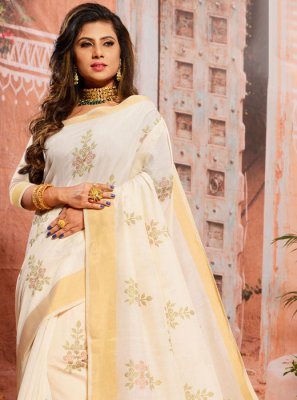 Cream Casual Classic Saree