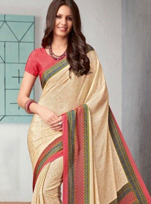 Cream Casual Faux Crepe Printed Saree