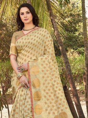 Cream Casual Handloom silk Classic Saree