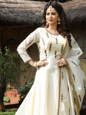 Cream Ceremonial Floor Length Gown