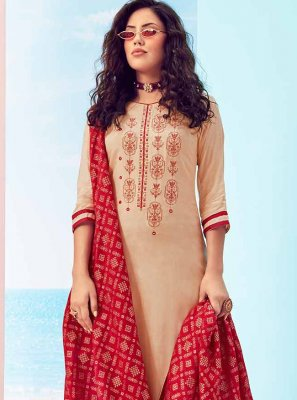 Cream Ceremonial Palazzo Straight Salwar Suit