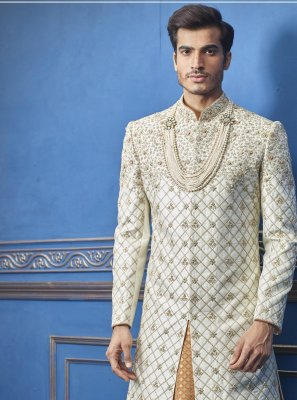 Cream Ceremonial Pure Silk Sherwani