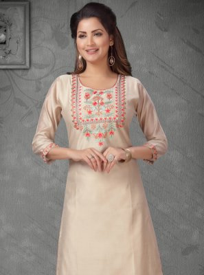 Cream Chanderi Casual Party Wear Kurti