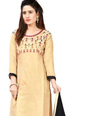 Cream Chanderi Cotton Festival Designer Salwar Suit