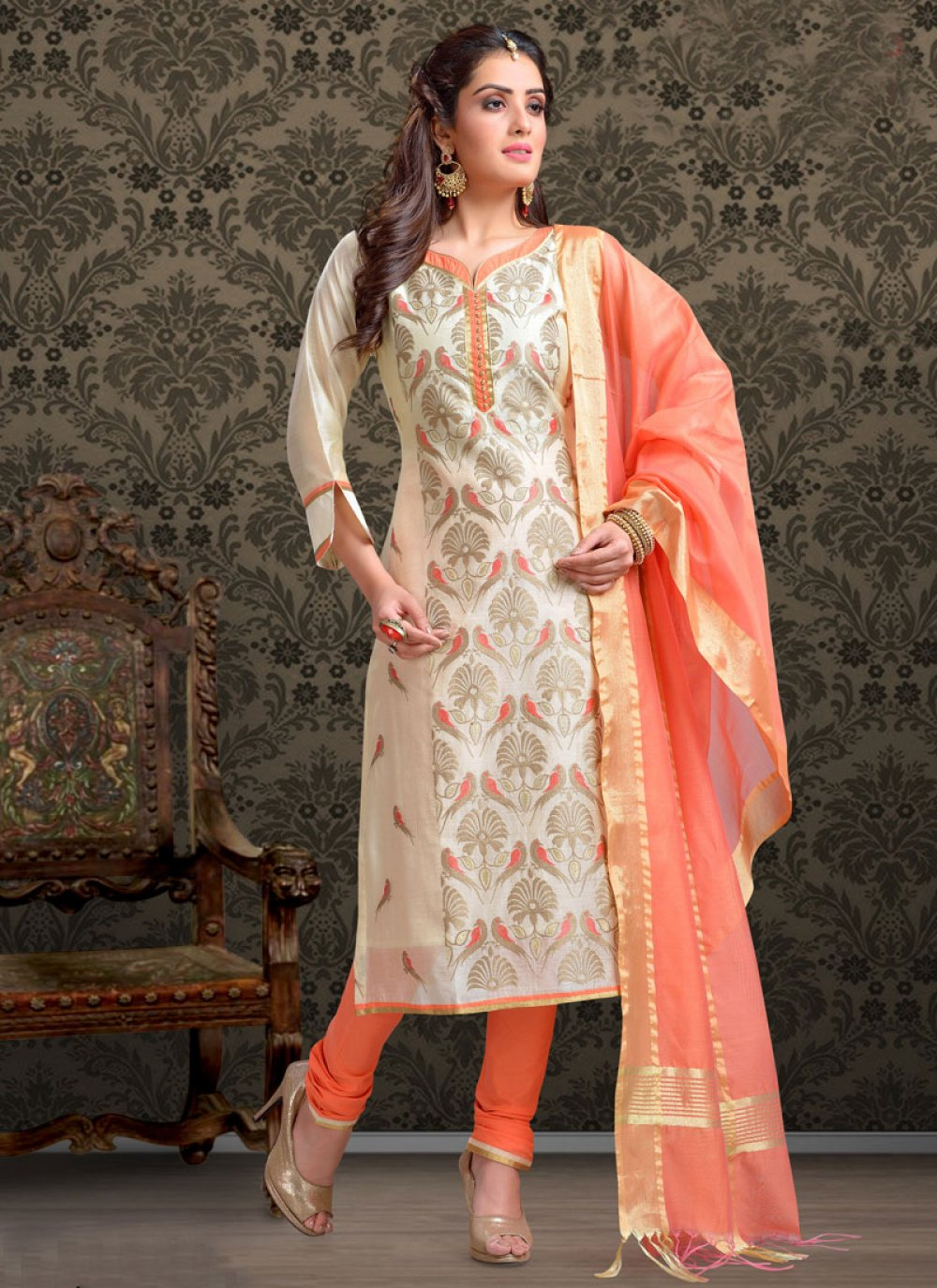Cream Chanderi Embroidered Churidar Salwar Suit