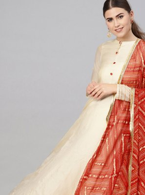 Cream Color Anarkali Suit