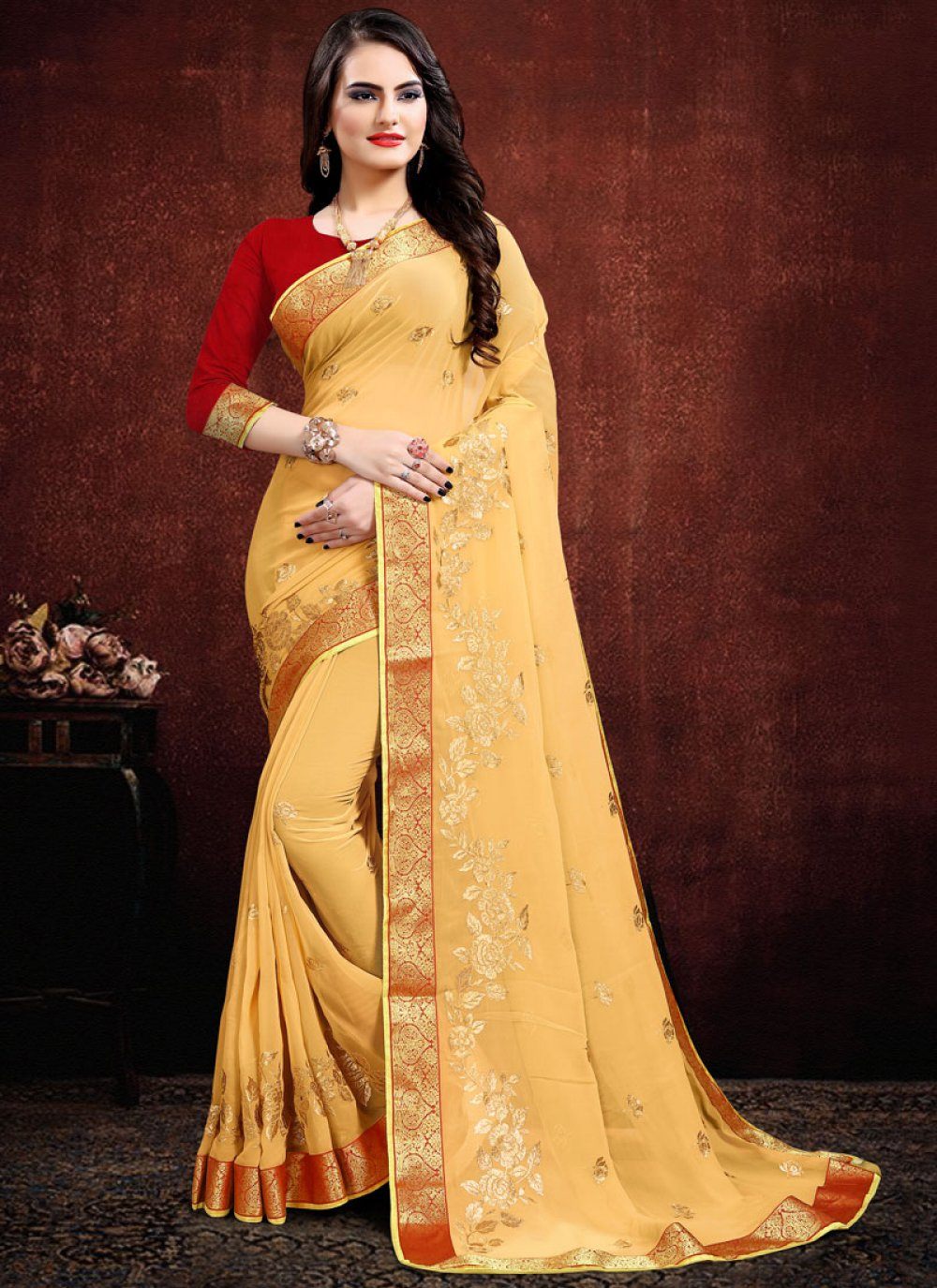 Cream Color Classic Designer Saree