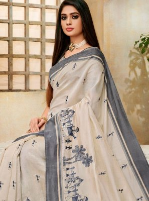 Cream Color Classic Saree