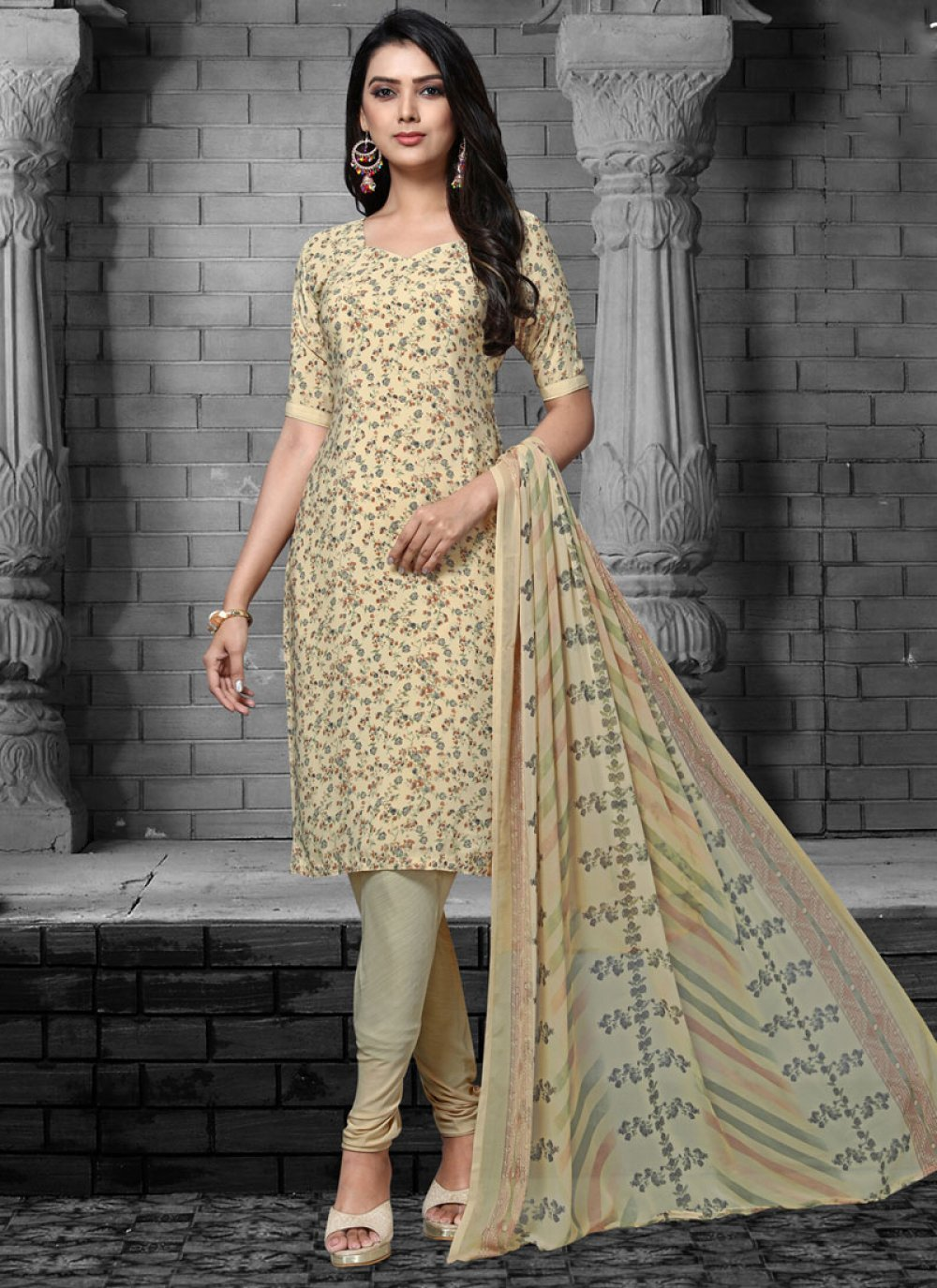 Cream Color Designer Salwar Suit