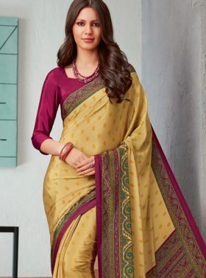 Cream Color Printed Saree