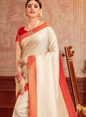 Cream Color Silk Saree