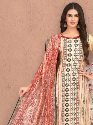 Cream Color Trendy Churidar Salwar Suit