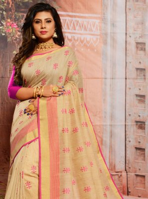 Cream Cotton Casual Saree
