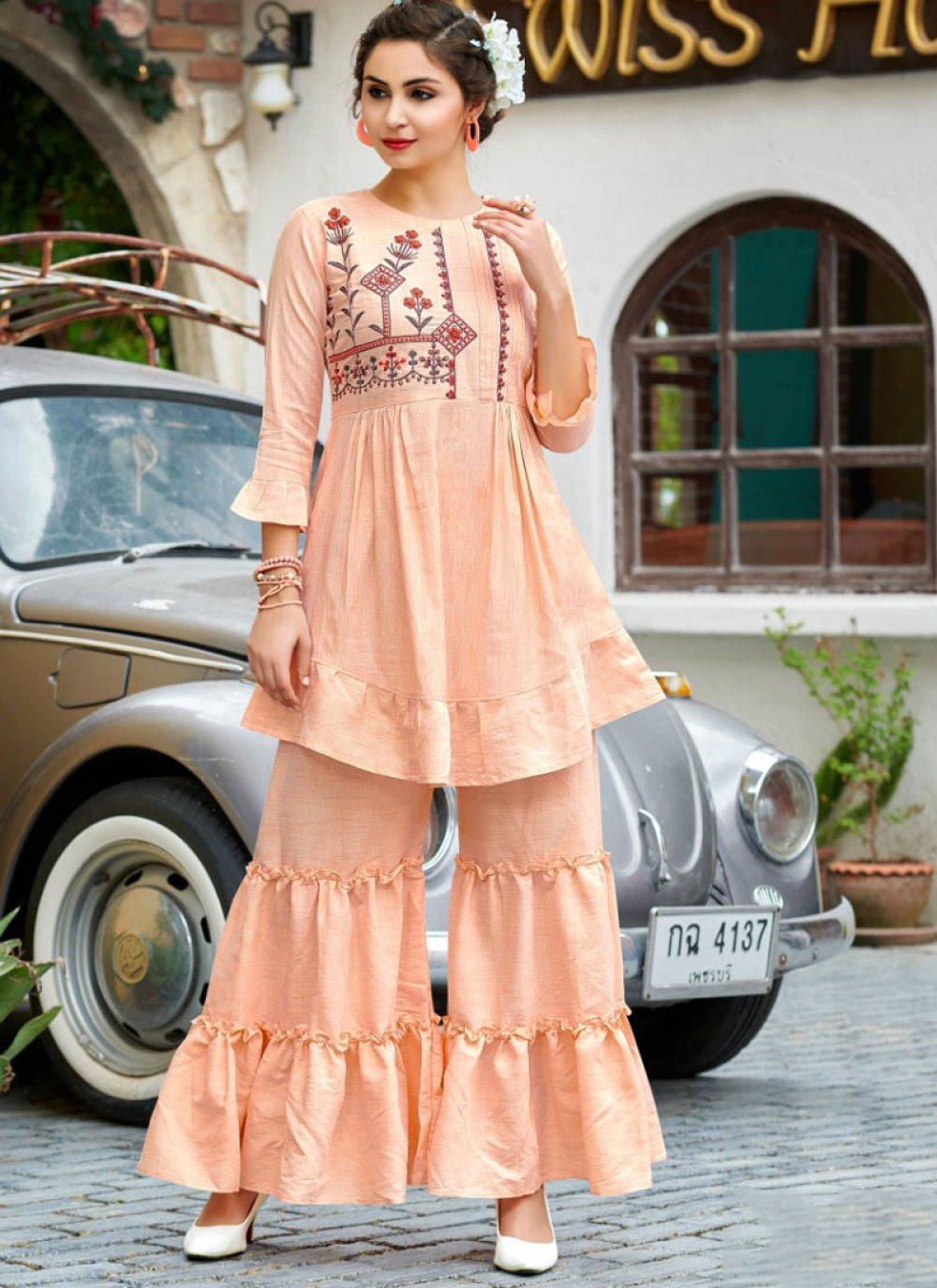 Cream Cotton Designer Palazzo Salwar Kameez