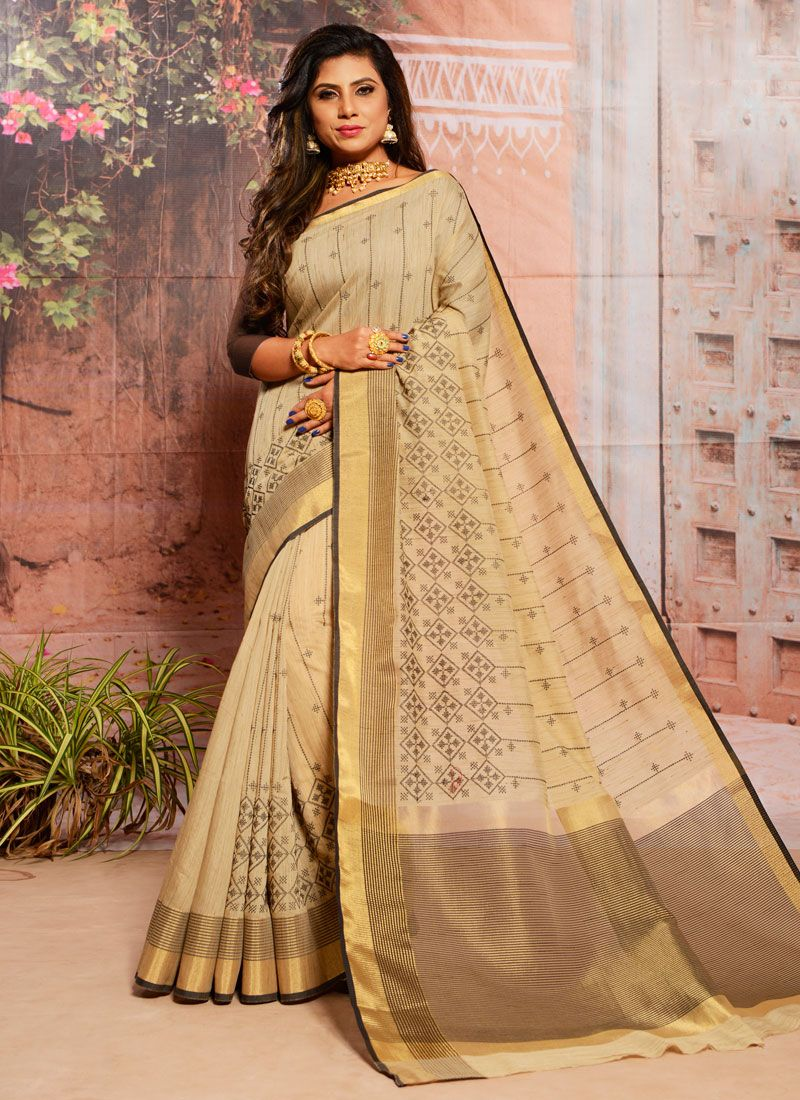 Cream Cotton Festival Casual Saree