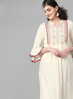 Cream Cotton Festival Designer Kurti