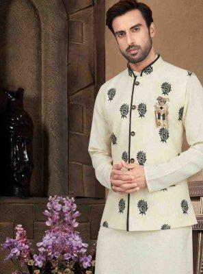 Cream Cotton Kurta Payjama With Jacket