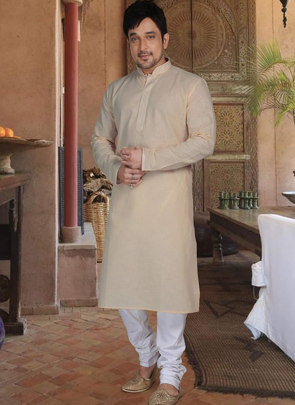 Cream Cotton Plain Kurta Pyjama