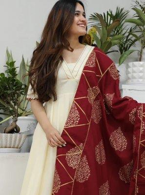 Cream Cotton Silk Party Designer Salwar Suit