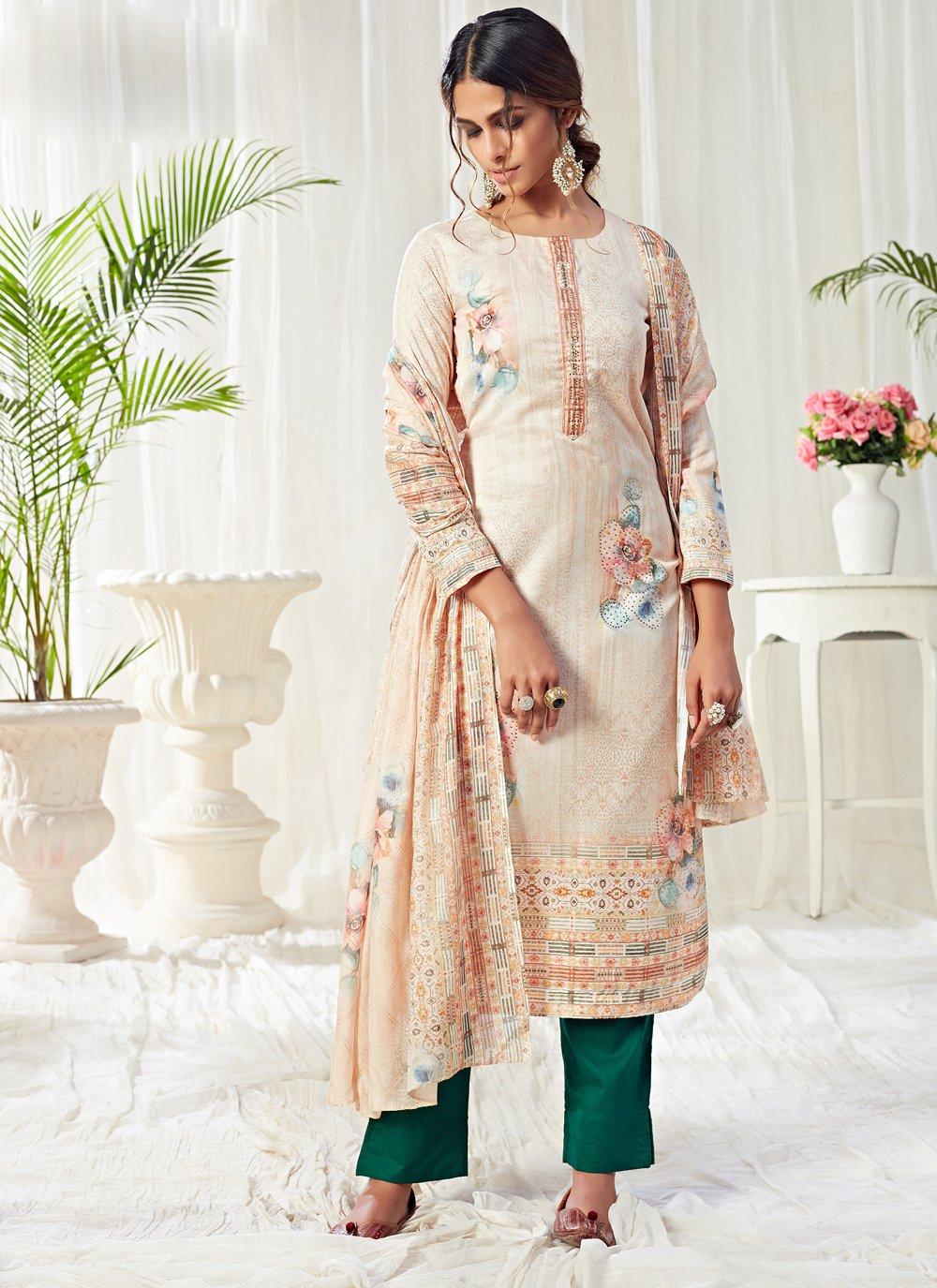 Cream Digital Print Cotton Straight Salwar Kameez
