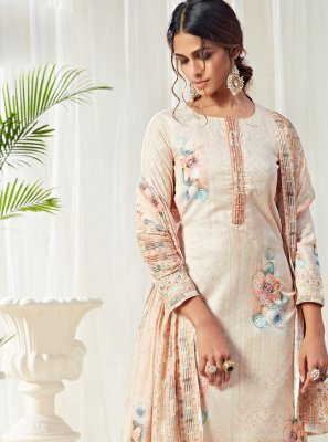 Cream Digital Print Cotton Straight Salwar Kameez