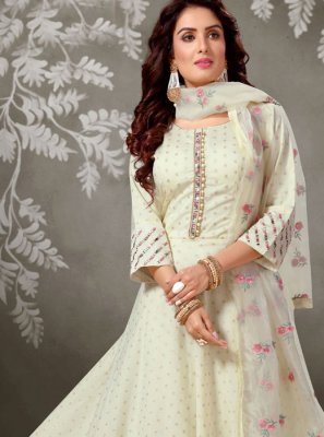 Off white Dori Work Brocade Salwar Suit