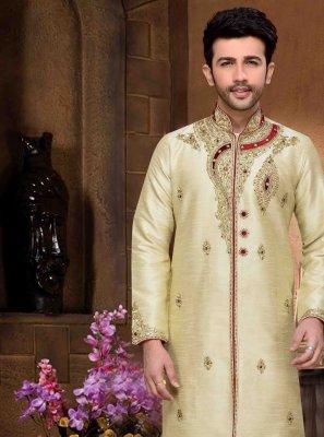 Cream Dupion Silk Stone Sherwani