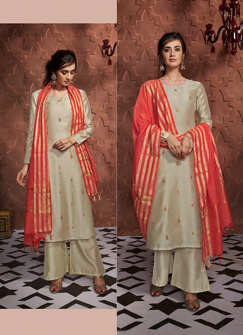 Cream Embroidered Art Silk Readymade Salwar Kameez