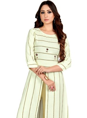 Cream Embroidered Casual Casual Kurti