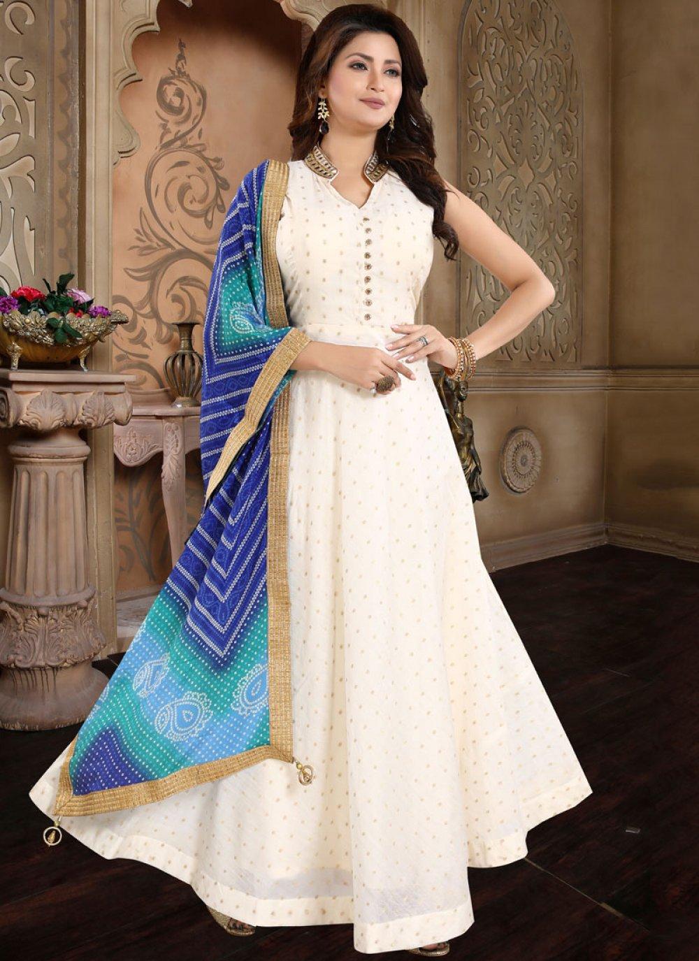 Cream Embroidered Chanderi Salwar Suit