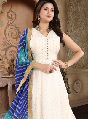 Cream Embroidered Chanderi Salwar Suit