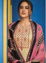 Cream Embroidered Chinon Designer Salwar Suit