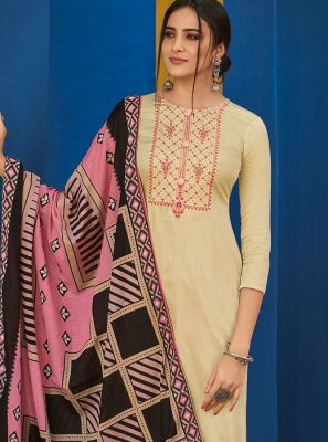 Cream Embroidered Chinon Designer Salwar Suit